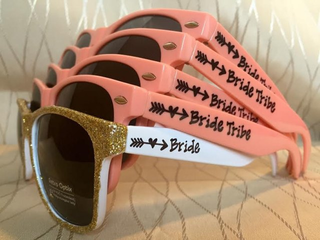 bride tribe sunglasses in coral