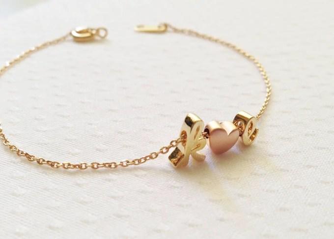 delicate initials bracelet
