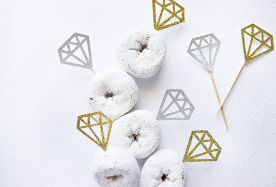 diamond donut toppers by paperlypress | via 21 Totally Fun Ring Themed Bridal Shower Ideas → http://emmalinebride.com/planning/ring-themed-bridal-shower/