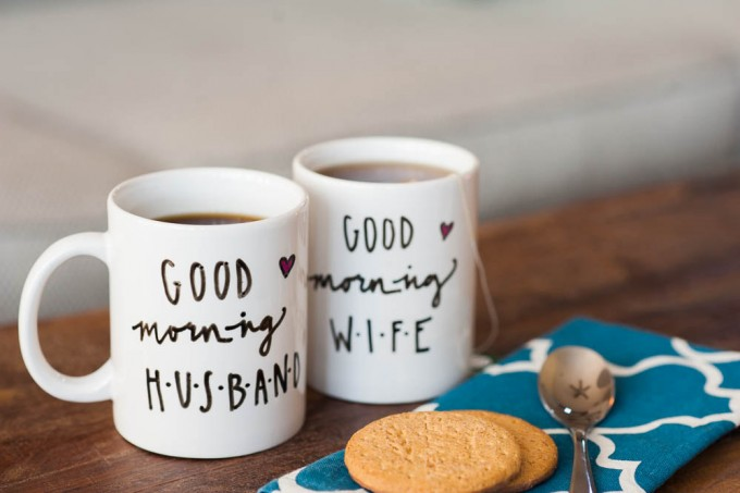 good morning husband wife coffee mugs | via 15 Best Gifts for the Bride from Groom + Wedding Gifts for Bride from Groom | http://emmalinebride.com/gifts/gifts-for-the-bride-from-groom/