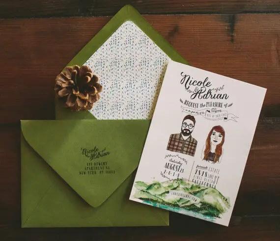 lake tahoe wedding invitations by wideeyespaperco