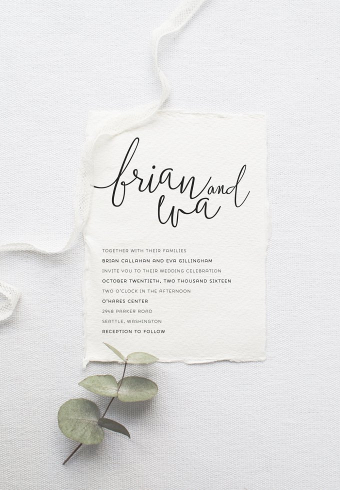 5 Minimalist Invitations for Weddings - Theme: Modern