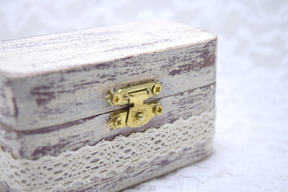 rustic wooden ring box lace