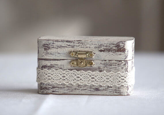 wooden ring box with lace