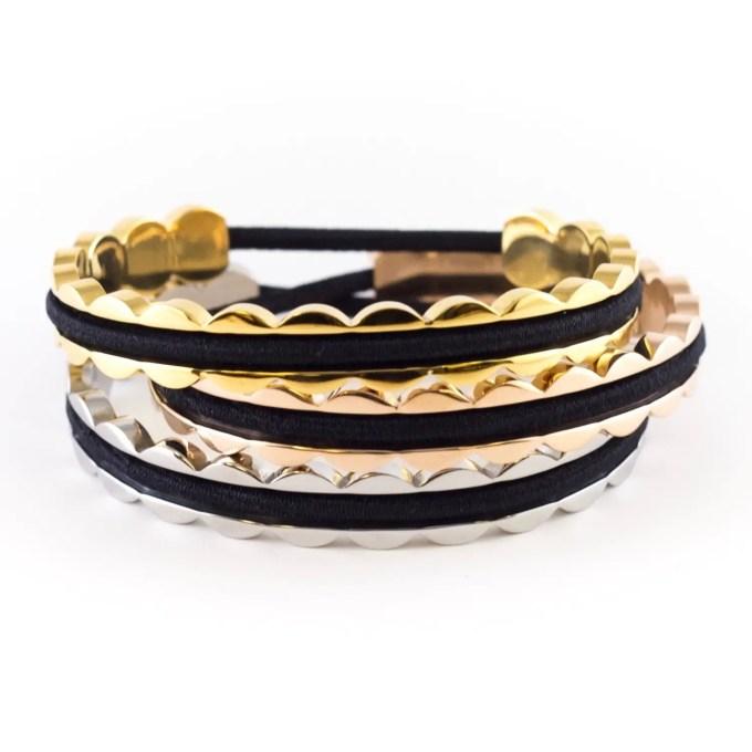 scalloped hair tie bracelets | http://emmalinebride.com/gifts/hair-tie-bracelets/