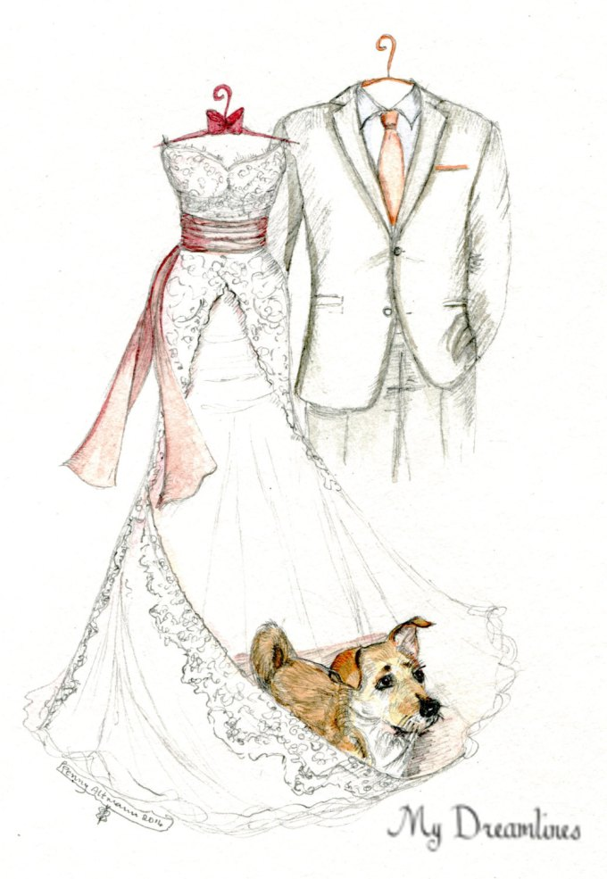 wedding dress and suit sketch | via 15 Best Gifts for the Bride from Groom | http://emmalinebride.com/gifts/gifts-for-the-bride-from-groom/