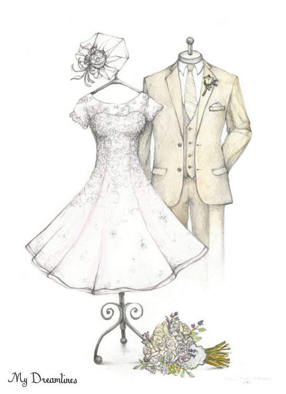 wedding dress veil and suit sketch