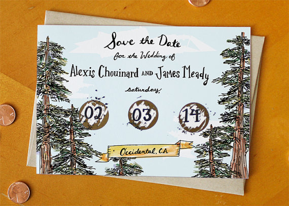 woodsy save the date card