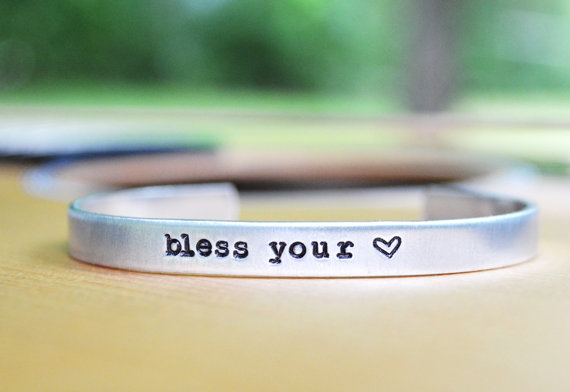 bless your heart cuff bracelet by cynicalredhead | country bridesmaid gifts under $25 via http://emmalinebride.com/rustic/country-bridesmaid-gifts/