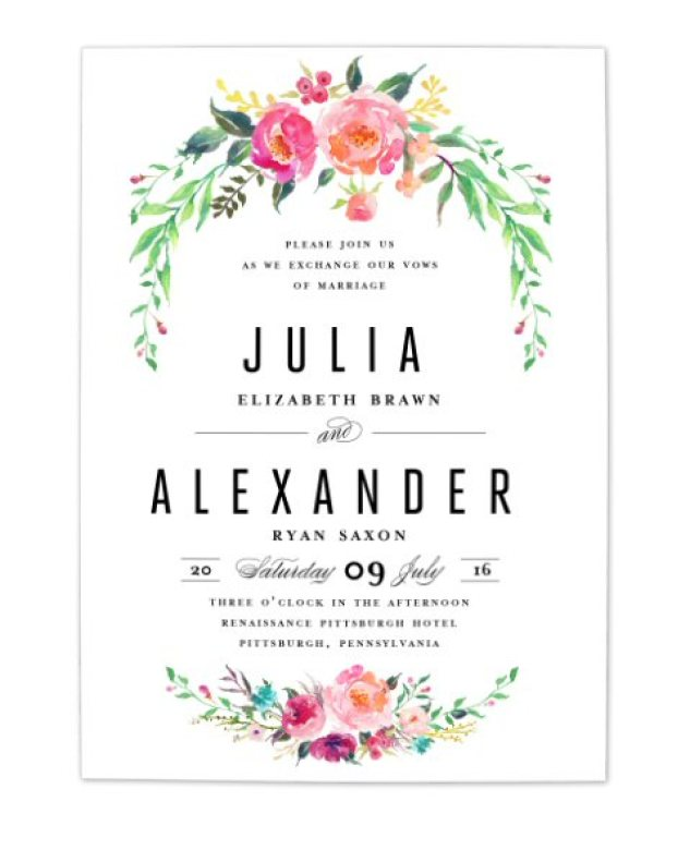 bohemian floral wedding invitation 1