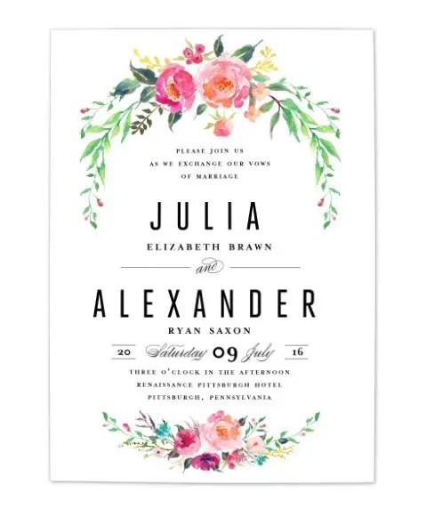 bohemian floral wedding invitation 1