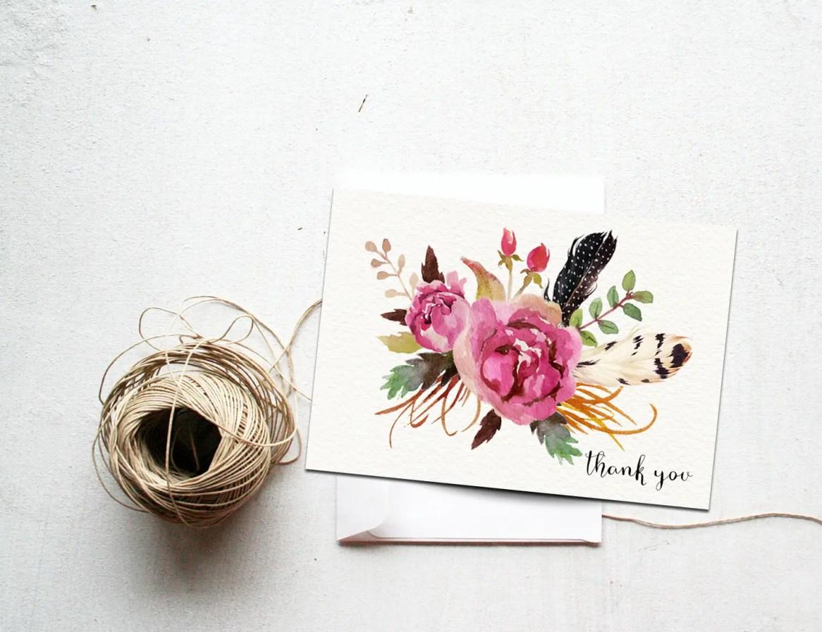 boho floral thank you cards by INVITEDbyAudriana
