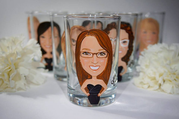 bridesmaid shot glasses with glasses on