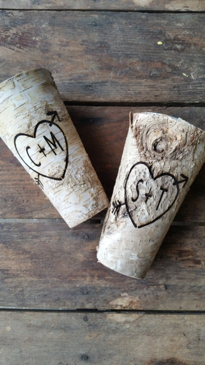 engraved birch bark wood vases by downintheboondocks - wood centerpieces for wedding
