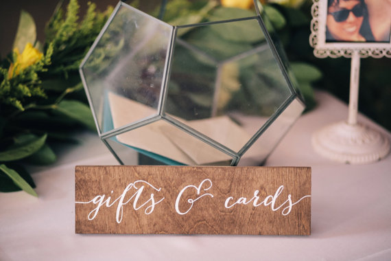 gift sign via 26 Things Guests Love at Weddings from A to Z   http://emmalinebride.com/planning/things-guests-love-at-weddings/ 