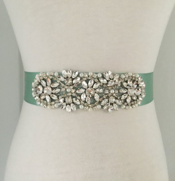 sage bridal sash by roseybloomboutique | via Sage Wedding Ideas from http://emmalinebride.com/color/sage-green-wedding-ideas/