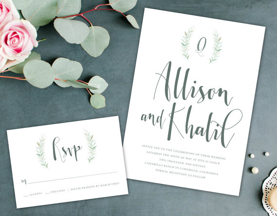 sage green wedding invitations by AlexaNelsonPrints | via Sage Wedding Ideas from http://emmalinebride.com/color/sage-green-wedding-ideas/