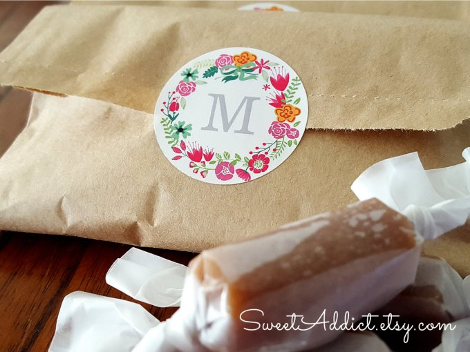 salted caramel favor bags