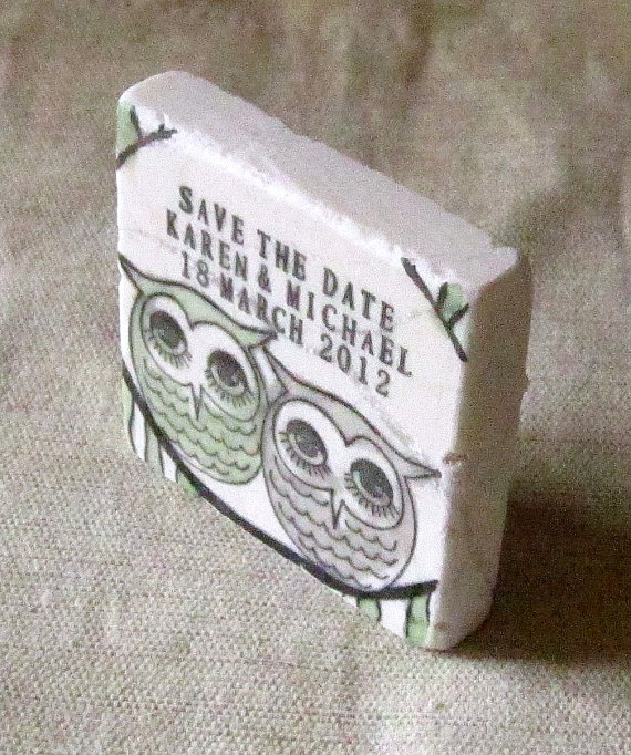 save the date owl magnets by mylittlechick | via Sage Wedding Ideas from http://emmalinebride.com/color/sage-green-wedding-ideas/