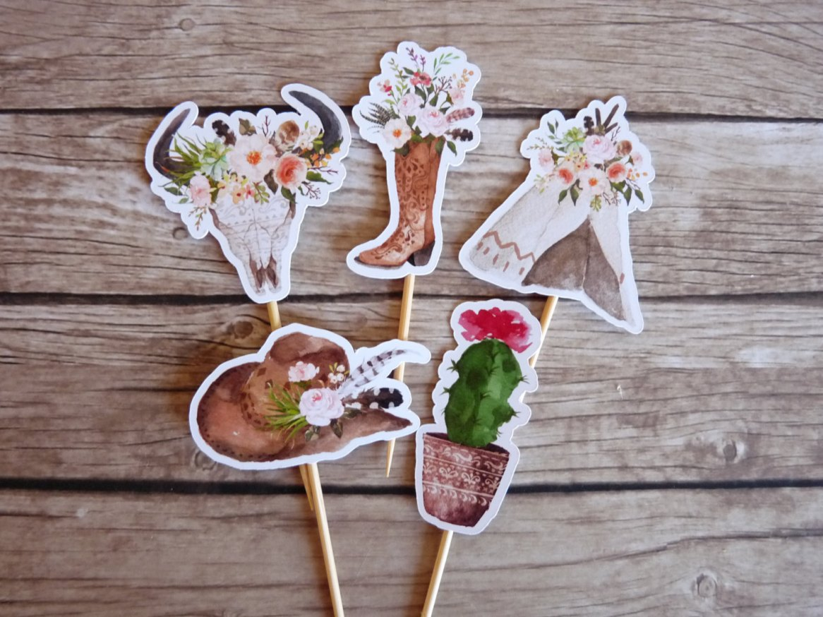 tribal cupcake toppers by ThePartyWorkshop