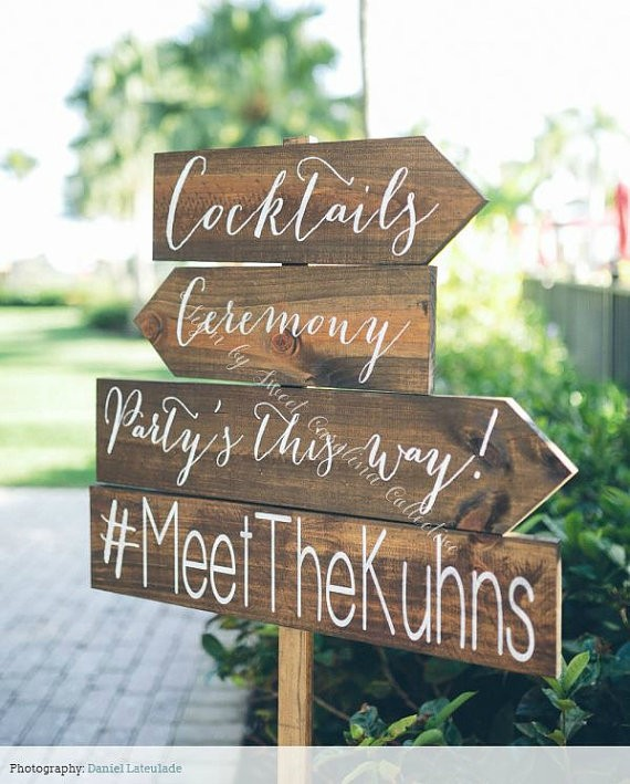 wedding directional sign cocktails via 26 Things Guests Love at Weddings from A to Z   http://emmalinebride.com/planning/things-guests-love-at-weddings/ 