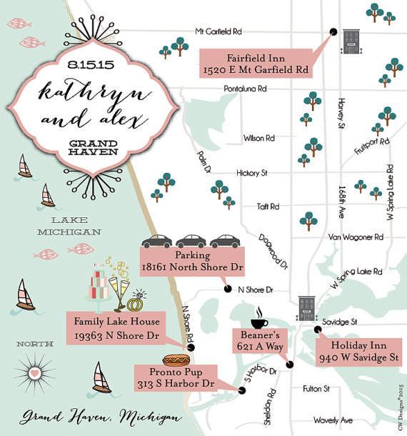 wedding map with directions by cwdesigns2010 via 26 Things Guests Love at Weddings from A to Z | http://emmalinebride.com/planning/things-guests-love-at-weddings/ 
