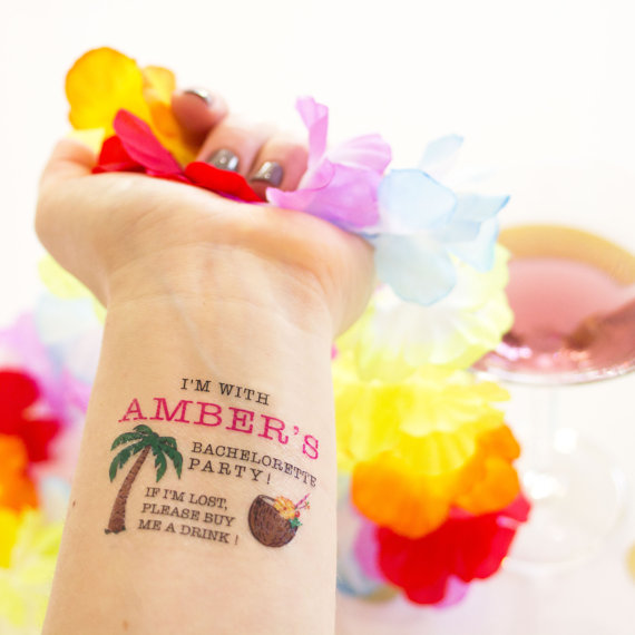 Bachelorette Party Temporary Tattoos by Kristen McGillivray | via Palm Tree Bachelorette Party Ideas http://bit.ly/2db3WOL