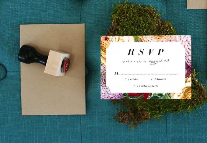Invite by Citrus Press Co. | via How to Get Guests to RSVP to your Wedding | http://emmalinebride.com/etiquette/how-to-get-guests-to-rsvp/