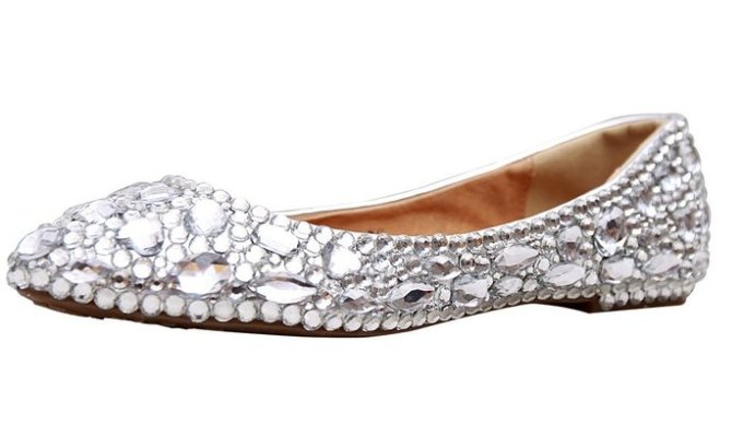 Rhinestone Covered Bridal Flats | 21 Wedding Flats That Will Look Beautiful for the Bride - http://emmalinebride.com/bride/wedding-flats-bride/