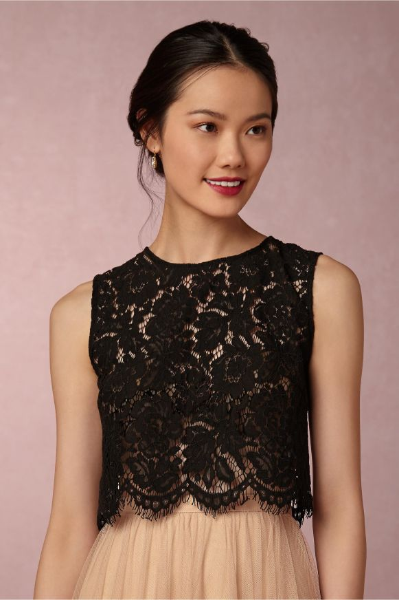 bridesmaid-tulle-skirts-black-lace-top
