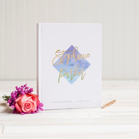 ombre-and-gold-foil-guest-book