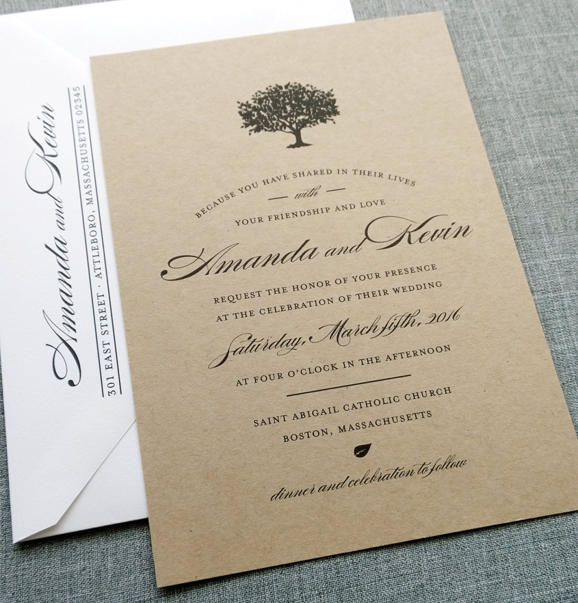 Kraft Paper Invitations for Weddings | by Cricket Printing