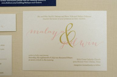 blush navy and gold invitations