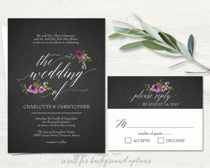 chalkboard floral invitation via free wedding invitations giveaway | http://emmalinebride.com/2017-giveaway/giveaway-win-free-wedding-invitations/