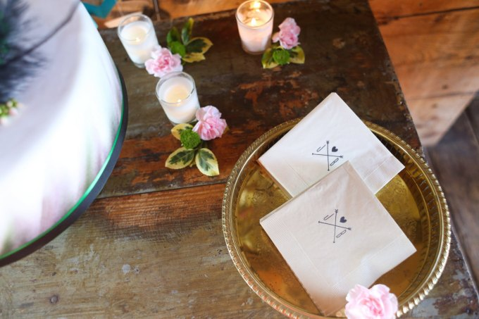 cocktail napkins | via Heart and Arrow Wedding Ideas: http://emmalinebride.com/themes/heart-and-arrow-wedding-ideas