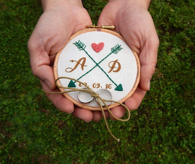 hoop art ring bearer pillow alternative | via Heart and Arrow Wedding Ideas: http://emmalinebride.com/themes/heart-and-arrow-wedding-ideas