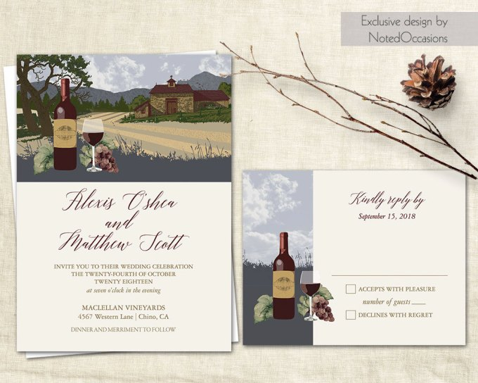 vineyard invitations via free wedding invitations giveaway | http://emmalinebride.com/2017-giveaway/giveaway-win-free-wedding-invitations/