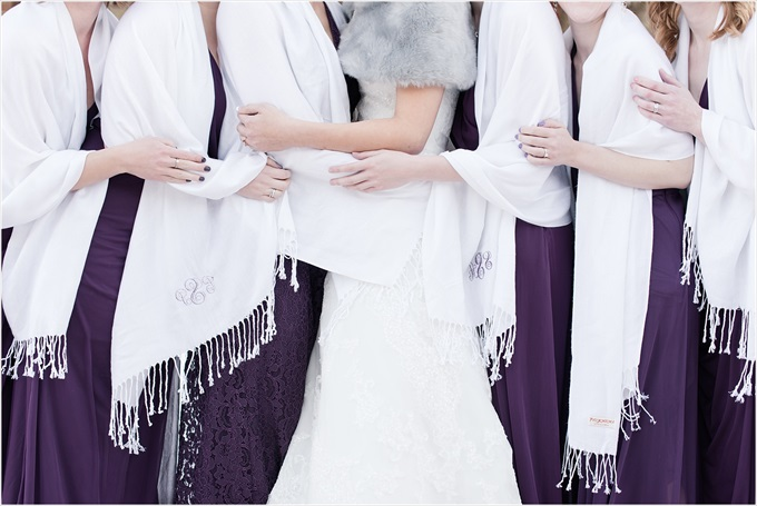 bridesmaids custom pashminas in this Sedgefield Country Club wedding| Greensboro, North Carolina wedding photographed by Michelle Robinson Photography - http://emmalinebride.com/real-weddings/sedgefield-country-club-wedding/