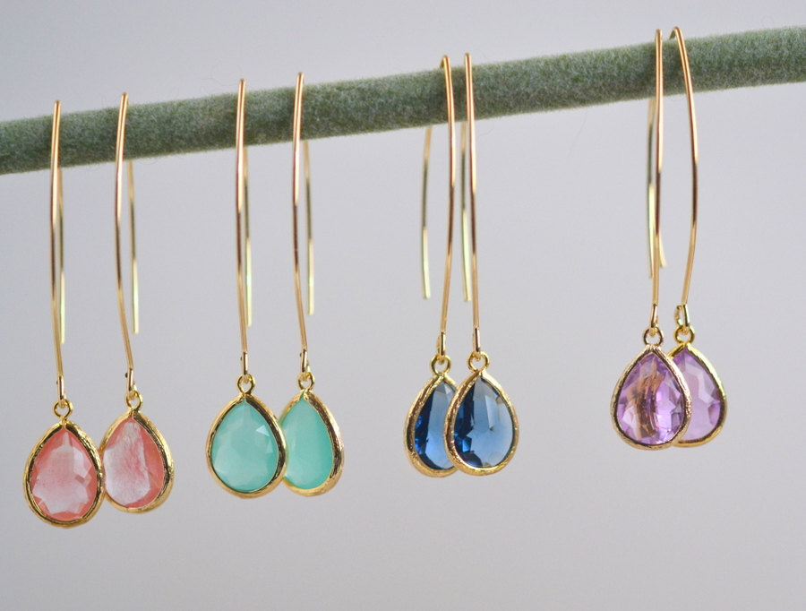 drop earrings for bridesmaids by rustic gem jewelry