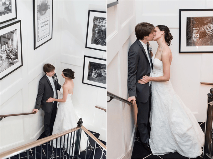 bride and groom sneak a kiss at this Sedgefield Country Club wedding| Greensboro, North Carolina winter wedding photographed by Michelle Robinson Photography - http://emmalinebride.com/real-weddings/sedgefield-country-club-wedding/