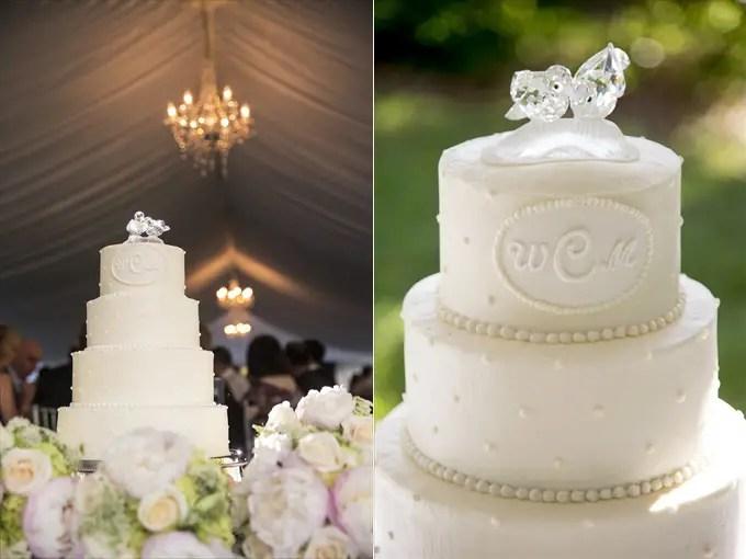 wedding cake in this Crystal Coast Wedding | North Carolina wedding photographed by Ellen LeRoy Photography - http://emmalinebride.com/real-weddings/breathtaking-crystal-coast-wedding-mara-will-married/
