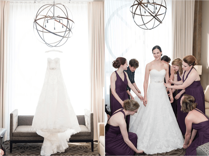 bride getting ready in this Sedgefield Country Club wedding| Greensboro, North Carolina wedding photographed by Michelle Robinson Photography - http://emmalinebride.com/real-weddings/sedgefield-country-club-wedding/