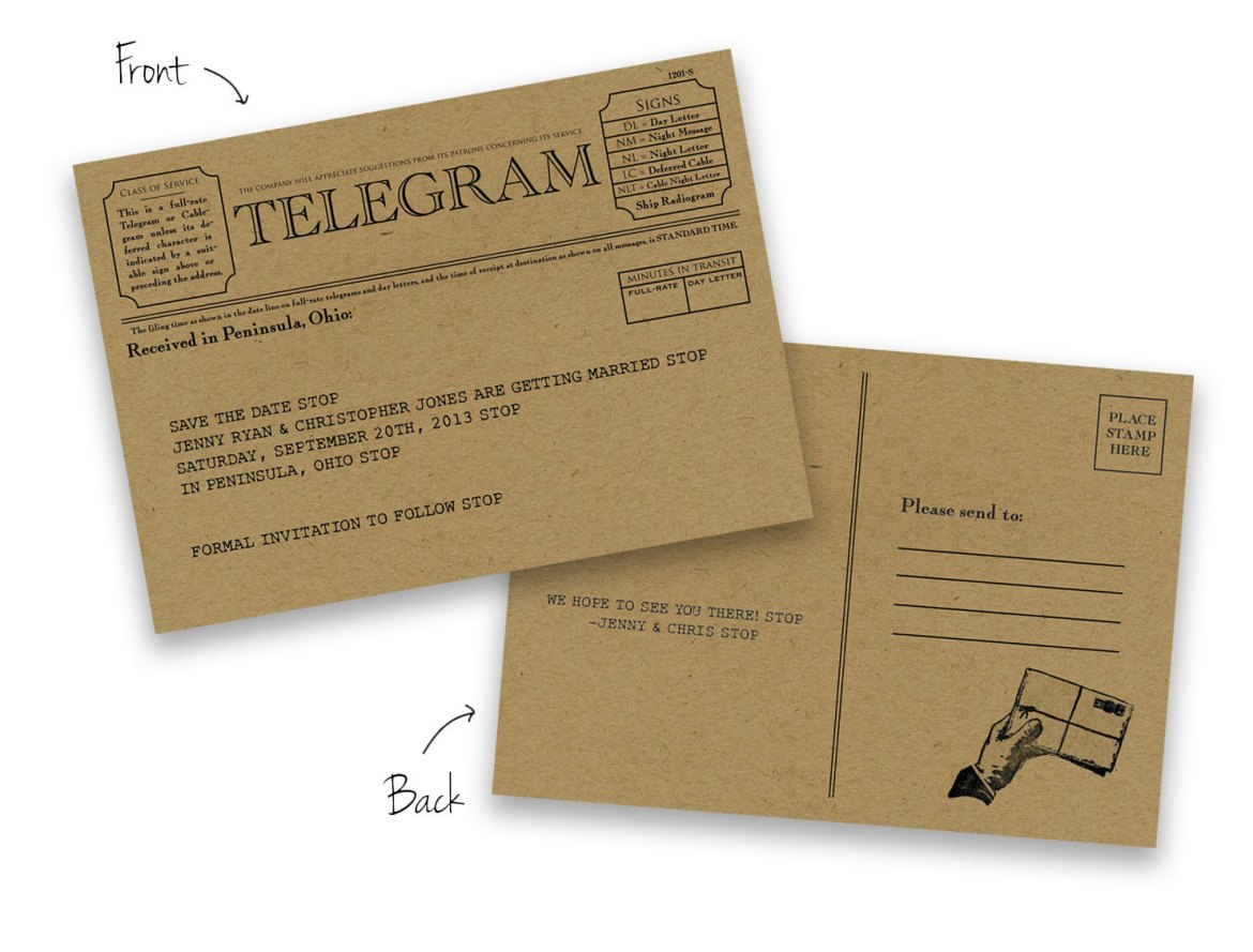 Telegram Save the Date Cards by Foreword Press