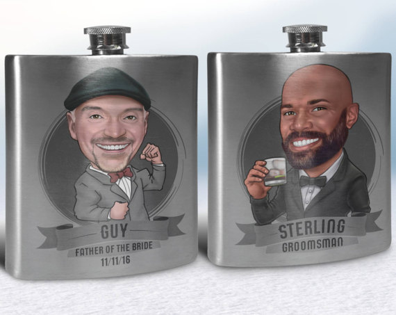 cartoon flask via 26 Best Groomsmen Flasks That Make Awesome Gifts