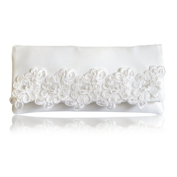 ivory clutch with satin lace trim