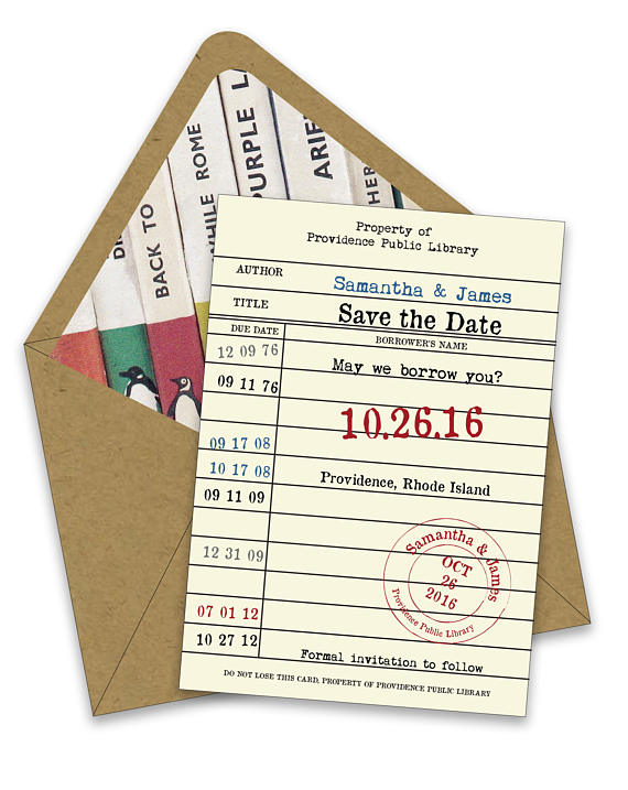 save the date instead library card bridal shower invitations