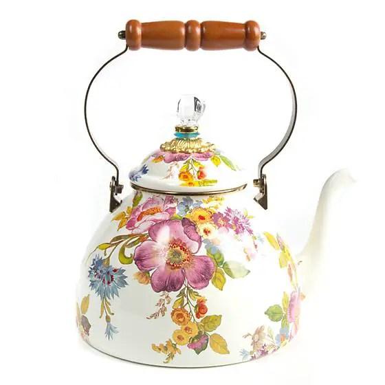 tea kettle flower pattern