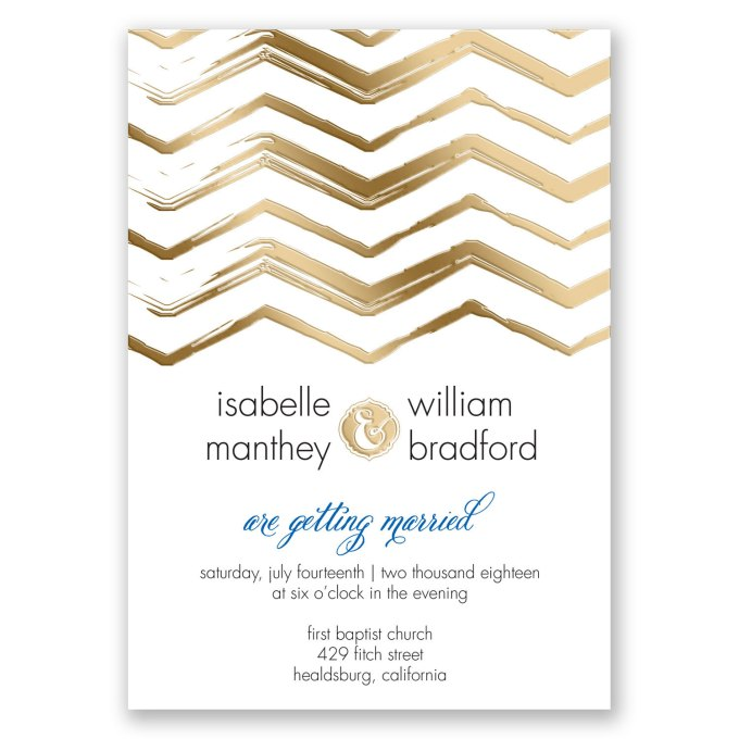 gold foil invites - where to buy affordable wedding invitations