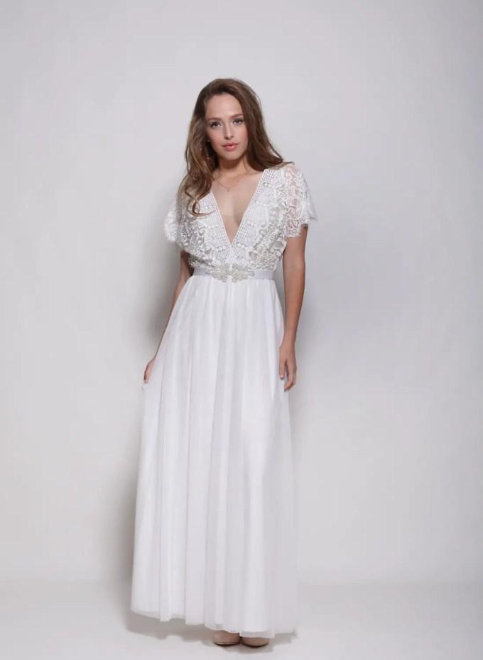 boho wedding dress with v neck and short sleeve via here