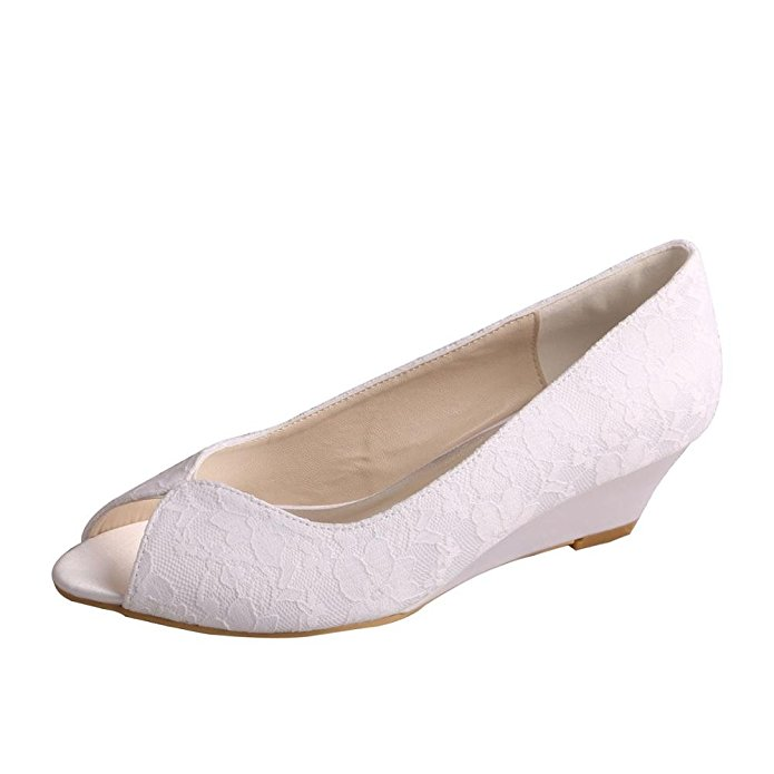 These Wedding Shoes Are Comfy With A Peep Toe And Lace Covering, Plus A  Small Wedge Heel For Brides Who Want It! Get These Comfortable Wedding Shoes  Here.
